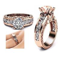 anéis de pedras preciosas de 14k venda por atacado-Designer de luxo jóias 14 K Rose Banhado A Ouro Gemstone Anéis de Noivado Para As Mulheres de Cristal de diamante de cristal anel de amor atacado