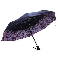 regen regenschirm stoff großhandel-Cherry Blossom Automatic Umbrella Damen Sonnenschirm Black Coating Sonnen- und Regenschirm Damen 210T Fabric Three-Folding