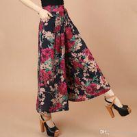 falda femenina pantalones al por mayor-2019 del tamaño del verano mujeres de la impresión del patrón de flor de la pierna ancha floja vestido de lino pantalones casuales Mujer Falda Pantalones Capris Culottes N597