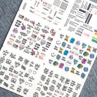 siyah harf çıkartmaları toptan satış-6 adet / takım Nail Sticker Siyah Mektup Su Kaymak Rus Harfler Su Çıkartmaları Nail Art Süslemeleri Sarar Kaydırıcılar Manikür 2019