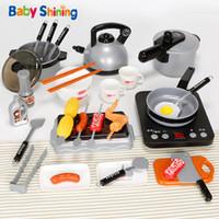 brinquedo do cozinheiro do bebê venda por atacado-Bebê Brilhante Cozinha Brinquedo Pretend Play Brinquedos Baby Cut Fruit Set Cozinhar Meninos e Meninas 3-6 Anos Crianças Conjunto De Cozinha