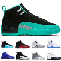 Wholesale french blue 12 for sale - Group buy Newest men basketball shoes Dark grey gamma blue playoffs high wolf wool grey GS Barons sports french blue gym red sneaker