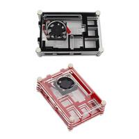 малиновый pi кулер оптовых-LANDZO Raspberry Pi 3 Чехол для Raspberry Pi 3 2 B Pi B +, красный / черный Нарезанный 9-слойный футляр Box + Вентилятор охлаждения