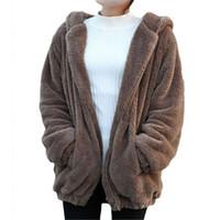 ayı kulakları hoodies toptan satış-Kış Kadın Hoodies Tişörtü Uzun Kollu Hoody Marka Hırka Gevşek Kabarık Ayı Karikatür Kulak Sıcak Gömlek Ceket Sevimli Bayan Giysileri