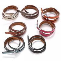 verdrehtes manschettenarmband großhandel-Luxus Designer Schmuck Herren Armbänder Leder Manschetten Damen Armband Modische Leder H Armband mit drei Schlaufen