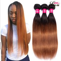 Wholesale ombre virgin hair resale online - Two tone b Human Straight hair Ombre human hair bundles Peruvian Straight Virgin hair bundles