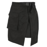 sexy mini rock al por mayor-Heyoungirl Harajuku Freight Mini faldas para mujer Sexy de cintura alta Mini Rock Summer Casual A Line Short Y19071301