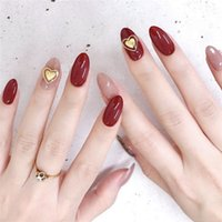 Wholesale red tipped false nails resale online - Red and Pink with Double Heart Short Nails Fake Piece False Acrylic Nail Tips Extension Finger Tools Manicure Nail Art