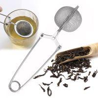 ingrosso sfere di maglia metallica-In acciaio inox palla infusore filtro in metallo sfera della maglia bustina di tè teiera setaccio del tè caffè erbe spezia diffusore cucchiaino tè strumento con manico