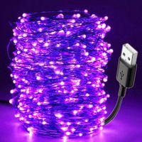 ingrosso lampada nera diy-10M Led Black Light UV String USB Christmas Halloween Party Lampada da bar impermeabile fai da te Stage germicida Haunted House Ultraviolet