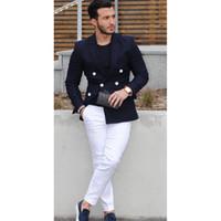 c778f3bc0 hombres blancos ropa casual formal al por mayor-Traje casual para hombre  Chaqueta azul marino