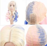 Wholesale big deep wave wigs resale online - cross border hot cosplay wig female middle long curly hair big wave pick dye anime wig