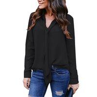 siyah uzun kollu bluz toptan satış-Artı Boyutu Uzun Kollu Şifon Bluz Gömlek V Boyun Casual Bayan Tops ve Bluzlar Siyah Beyaz Bordo Camiseta Mujer 5XL