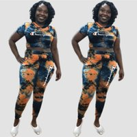 Wholesale hot girls s online - Embroidery Champions Letter Tracksuit Women Hooded T shirt Pants Leggings Outfit Summer Tie dye Sportswear Clothing Sports Suit hot C3263