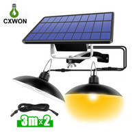 Wholesale waterproof camping tents resale online - Portable Split Solar Camping Light ABS Leds LM Waterproof LED Tent Outdoor Indoor Suspension Lamp Double Head Emergency Lighting