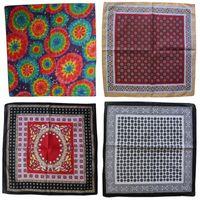 Wholesale custom scarves online - Vintage Shaped Folk Custom Square Scarf Outdoor Travel Street Dance Handkerchiefs Flower Printing Pink Geometric Bandana Hip Hop ybb I1