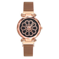 Wholesale mesh flower band for sale - Group buy Fashion new creative design women ladies flower pattern dress quartz watches alloy mesh Magnetic band leisure casual watches