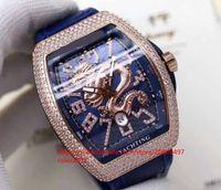 ver hombres digital china al por mayor-Mens AB Factory V45SC Azul Con textura Dial con diamantes incrustados Numeral dragón chino Movimiento automático Hombres 44mm Asia 2824 Reloj