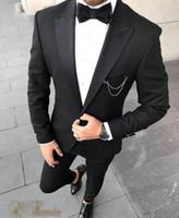 ropa formal para la boda de los hombres al por mayor-Esmoquin de la boda del partido de cena hombre Trajes de desgaste Slim Fit novio traje de los padrinos de boda baratos trajes de baile formal dos piezas (chaqueta + Pants + tie)