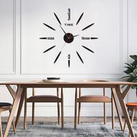 relojes de pared modernos al por mayor-DIY 3D pared grande del reloj de espejo del diseño moderno decorativo mudo movimiento Reloj de pared adhesivo El regalo único de la decoración del hogar