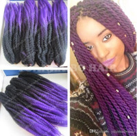 Wholesale tone ombre braiding hair purple for sale - Group buy 12 Packs Full Head Two Tone Marley Braid Hair inch Black Purple Ombre Synthetic Hair Extensions Kinky Twist Braiding Fast Express Shipping