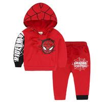 örümcek adam kıyafetleri çocuklar için toptan satış-Çocuklar Çocuk Giyim Setleri Spiderman Suit Uzun Kollu O-Boyun Pantolon Spiderman Karikatür Parça Pamuk Çocuk Giyim Suit 38