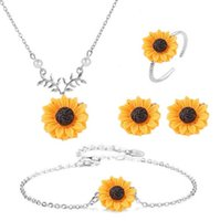 Wholesale acrylic flowers jewelry for sale - Group buy European and American jewelry hot fashion creative sunflower necklace sun flower earrings ring bracelet four piece