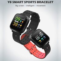 herzpulsuhr wasserdicht großhandel-2019 neue Y8 wasserdichtes intelligentes Armband-Herzfrequenz-Impuls-Blutdruck-Monitor-Sport-intelligentes Armband für iphone androide Telefon intelligente Uhr