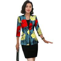 ingrosso tre quarti giacche donna-Giacca africana per le donne Moda Ankara Giacca a tre quarti manica stampata giacca Outwear Abiti Lady Dashiki vestiti