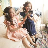 ingrosso veste bambini di corea-Vestito per bambini Vestito da ragazza Vestito coreano Manica a mosca con abiti ricamati con increspature Abiti estivi per bambini