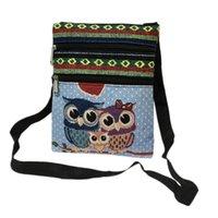 eule schultaschen taschen großhandel-Frauen Mädchen Tragbare Umhängetasche Messenger Geldbörse Zip Owl Satchel Tote Handtasche Reisetasche Canvas Satchel Canvas