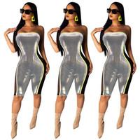 ingrosso abiti di progettazione d'argento-Designer Donna argento Senza spalline Pantaloncini tuta Pagliaccetti Sexy Bodycon Night Club Abbigliamento Tuta senza maniche Pagliaccetti S-XL