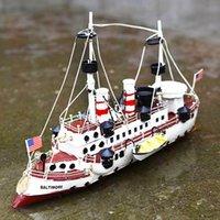 ingrosso barca modello navy-Regalo Decor Desktop stagno di ferro della barca Modello Figurine ornamento antico Marina americana artigianato metallo Ship Model Home Office