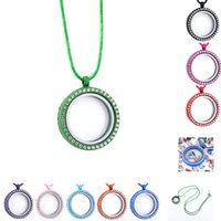 Wholesale magnetic locket pendant resale online - Floating Lockets Pendant Necklace Opening Living Magnetic Glass crystal locket Charm Wax rope Leather chain For women Fashion Jewelry