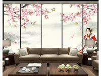 Wholesale chinese ancient paintings for sale - Group buy Papel de parede Custom d photo mural wallpaper home decor Ancient beauty Zen ink painting landscape TV sofa background wall