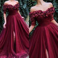 Wholesale plus size navy flowered dress resale online - Elegant Dark Red Prom Dresses Off Shoulder Handmade Rose Flower Petals Tulle Evening Dresses Special Occasions Party Gowns