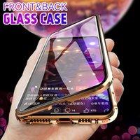 iphone arka çerçeve dolu toptan satış-Ön Arka Temperli Cam Metal Çerçeve Manyetik Adsorpsiyon Tam Ekran Telefon Kılıfı Için iPhone X XS MAX 6 s artı Samsung s10e s10 artı