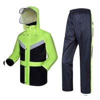 Wholesale safety clothing coat resale online - New High Visibility Fashion Rain Gear Rain Coat Reflective Jacket Waterproof Trousers Safety Clothing Workwear T190622