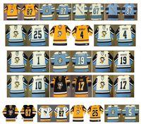 camisetas de hockey madrigueras al por mayor-Jerseys de pingüinos de Pittsburgh de época 1 DENIS HERRON 19 JEAN PRONOVOST 10 PIERRE LAROUCHE 17 RICK KEHOE 25 RANDY CARLYLE 4 Burrows CCM Hockey