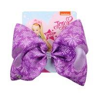 schokoladenhaar 16 zoll groihandel-JOJO Siwa Haar beugt 16 Designs Snowflake Styles Jojo-Bögen mit Klipp-Haar-Accessoires für Mädchen 8-Zoll-große Haar-Bogen JSS127