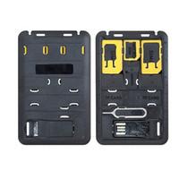 suporte de cartão para telefone celular venda por atacado-Mini SIM Card Adapter Caso de Armazenamento Kits Para Nano Micro Titular da Memória do Cartão SIM Para O Telefone Móvel