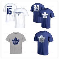 topo da folha de bordo venda por atacado-Toronto Maple Leafs T-shirt dos homens 16 # mitchell marner Camisas De Hóquei 34 # argila matthews Azul Preto Top Tees camisas Marca impresso Logos