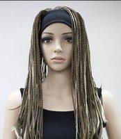 ingrosso fascia marrone della treccia-WIG Light Brown Blonde Mix unici trecce Man-made 3/4 mezza parrucca FYTLG020
