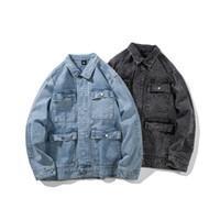 ingrosso giacche cargo nere-Giacca cargo da uomo quattro carghi blu chiaro da taschino Demin