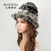 98f748f0e89 2019 BLINZEFIA Knitted Genuine Real Rex Rabbit Fur Winter Bucket Hats for  Women Lady Warm Russian Flower Muts Cap Chapeu BZ6024