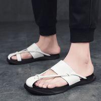 резиновые сапоги оптовых-New  Man Soft Slippers Anti-Slip Walking Shoe Outdoor Slippers Rubber Mens Slides Shoes Leather Flip Flops Beach