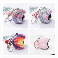 Wholesale pink green motorcycle helmet resale online - Creative Motorcycle Safety Helmets Car Auto Five star Keychain Pendant Classic Key Ring Helmet Holder Car Accessories
