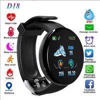 cep telefonu izle ücretleri toptan satış-D18 kalp hızı, kan oksijen akıllı saat akıllı bilezik spor ios Android cep telefonu için IP65 su geçirmez erkek ve kadınlar izle