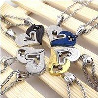 paslanmaz çelik çift kolye kalp toptan satış-1 çift Çiftler paslanmaz çelik zincir siyah kalp aşk kolye moda trendy eşleştirilmiş süspansiyon SENİ kolye