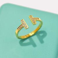feines paar ring groihandel-Edelstahl Silber Doppel T Ringe mit Diamanten Rotgold verstellbare Liebhaber Band Ringe für Frauen und Männer Paar Ringe edlen Schmuck